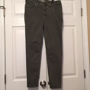 "Madewell button fly garment dyed 9"" skinny jeans"
